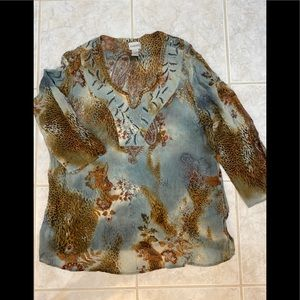 Chico's 3Paisley Brown Blue Silk Embellished Tunic